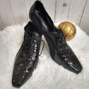 Van Eli Black Granny Lace Up Heels 7